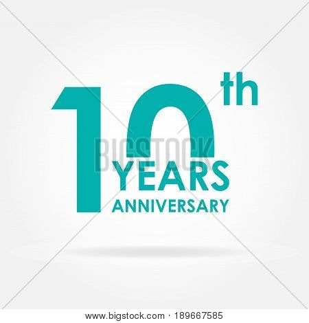 10 years anniversary icon. Template for celebration and congratulation design. 10th anniversary label. Flat vector illustration.