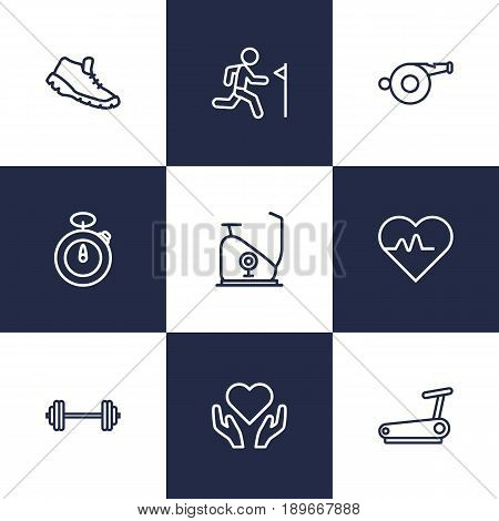 Set Of 9 Fitness Outline Icons Set.Collection Of Running Track, Whistle, Stopwatch And Other Elements.