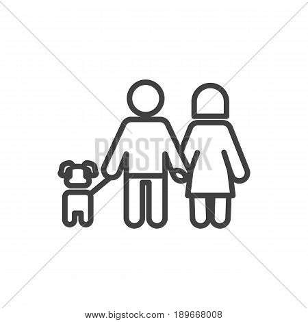 Isolted Walking Outline Symbol On Clean Background. Vector Lovers Element In Trendy Style.