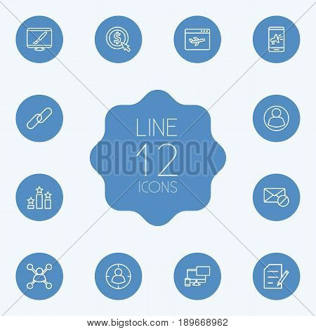Set Of 12 Search Outline Icons Set.Collection Of Stock Exchange, Home, Arrangement And Other Elements.