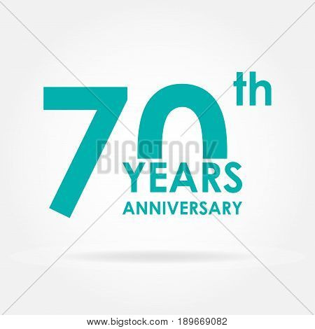 70 years anniversary icon. Template for celebration and congratulation design.Flat vector illustration of 70th anniversary label.