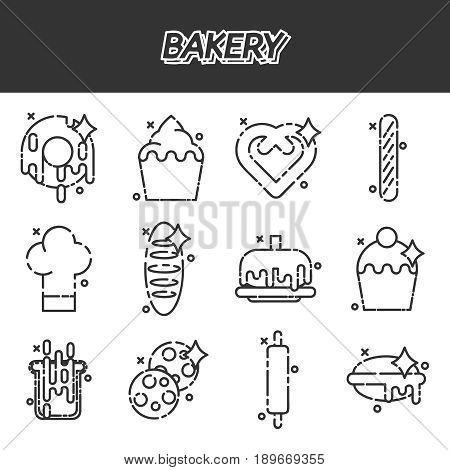 Bakery icons set with sweet pastries products ingredients baker equipment isolated vector illustration