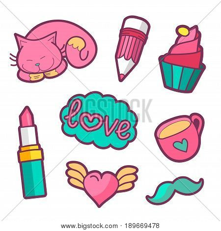 Vector colorful quirky patches collection. Pin trendy decoration labels for denim and textile. Fashion stickers illustration. Vintage hippie style badges set.