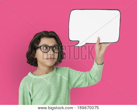 Little Boy Holding Chatbox Neutral Mood