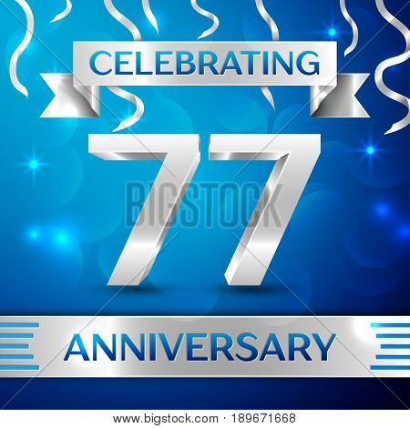 Seventy seven Years Anniversary Celebration Design. Confetti and silver ribbon on blue background. Colorful Vector template elements for your birthday party. Anniversary ribbon