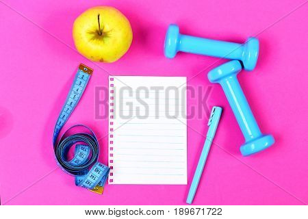 Dieting And Regime Concept With Blank White Notebook Page