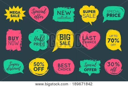 Vector set of comic speech bubbles Sale stickers. Discount card collection, Buy Now, Special Offer, Best Choice, Last Chance etc. Illustrations of labels.