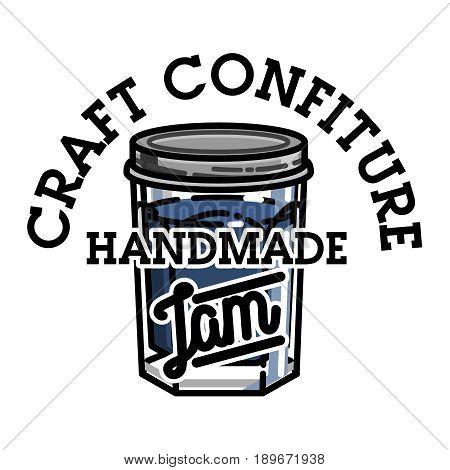Color vintage confiture emblem. For kids menu, winter holidays, birthday