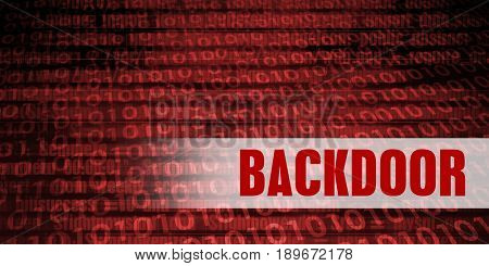 Backdoor Security Warning on Red Binary Technology Background
