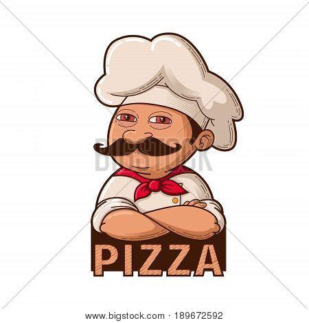 Emblem of funny smiling chef, cartoon illustration