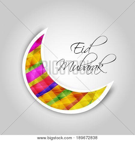 illustration of moon with eid mubarak text