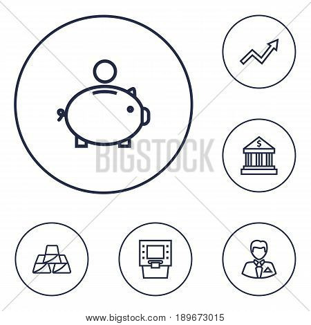 Set Of 6 Budget Outline Icons Set.Collection Of Atm, Golden Bars, Bank And Other Elements.