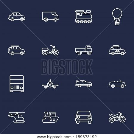 Set Of 16 Transport Outline Icons Set.Collection Of Lorry, Suv, Train And Other Elements.
