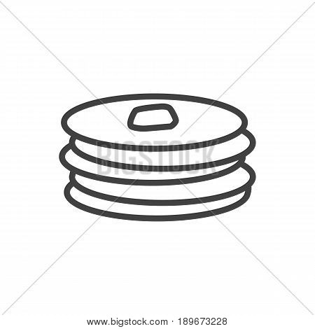 Isolted Crepe Outline Symbol On Clean Background. Vector Pancakes Element In Trendy Style.