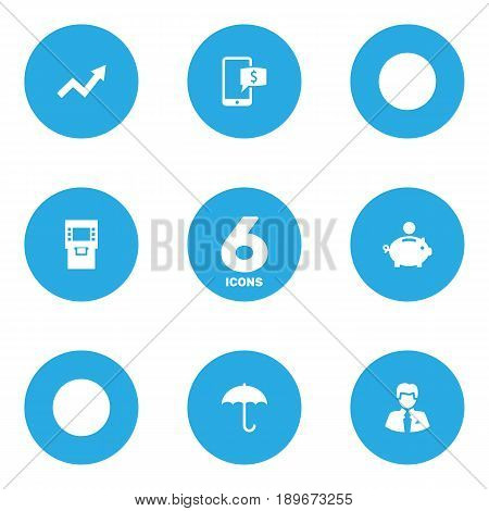 Set Of 6 Finance Icons Set.Collection Of Grown, Worker, Umbrella And Other Elements.