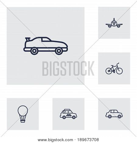 Set Of 6 Transport Outline Icons Set.Collection Of Airplane, Bike, Coupe And Other Elements.