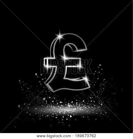 Silver pound sterling symbol. Currency linear vector illustration on a black background.