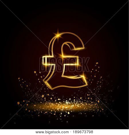 Gold pound sterling symbol. Currency linear vector illustration on a black background.