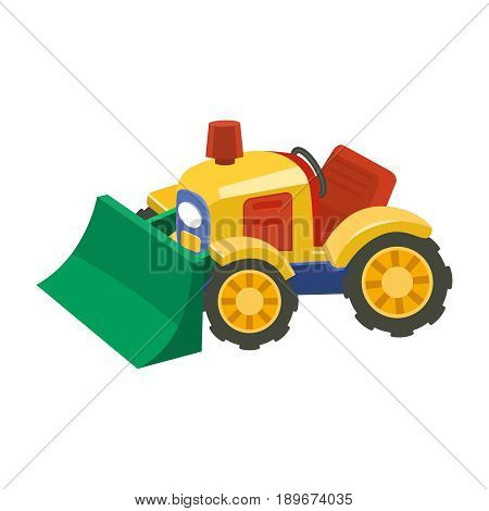 Flat tractor on white background.Agricultural tractor - transport for farm in flat style