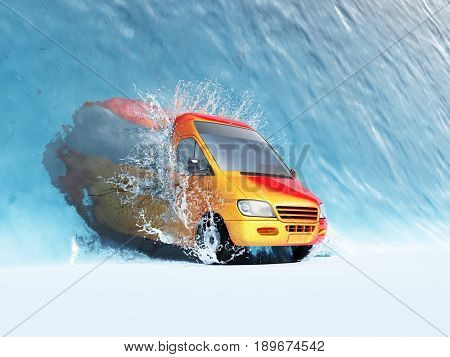 The bus leaves the water.,3d render