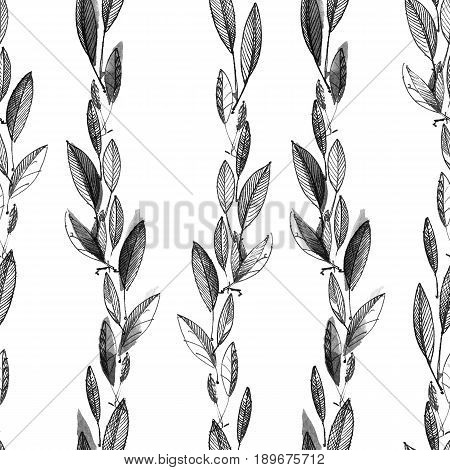 Watercolor and ink illustration of leaves. Graphic and painting. Seamless pattern.