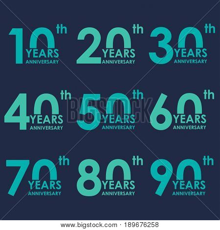 Anniversary icon set. Anniversary flat emblems. 10, 20, 30, 40, 50, 60, 70, 80, 90 years. Template for cards and congratulation design. Vector illustration.