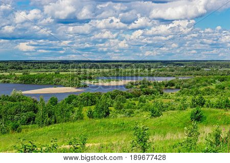 View from steep bank on on the Vyatka River