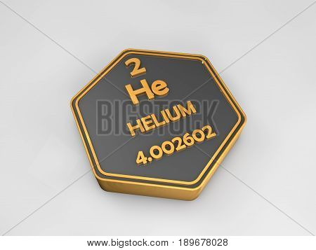 Helium - He - chemical element periodic table hexagonal shape 3d illustration