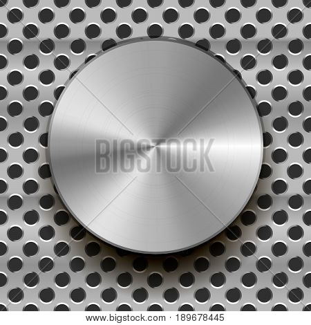 Glossy metal knob with shadow on grid