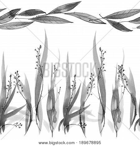 Watercolor and ink illustration of grass. Sumi-e u-sin painting. Oriental traditional style. Seamless borders.