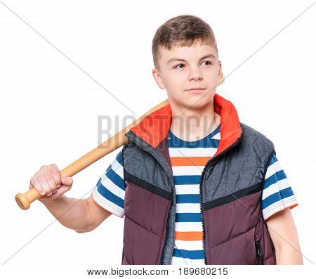 Portrait of a handsome boy teenager holding baseball bat. Funny cute smiling child looking away, isolated on white background.