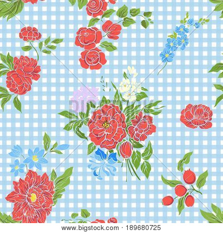 Seamless pattern with vintage embroidered flowers in vintage style on blue and white stripes background.Stock line vector illustration.