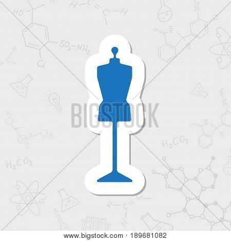 Vector flat sticker tailor model icon on white background