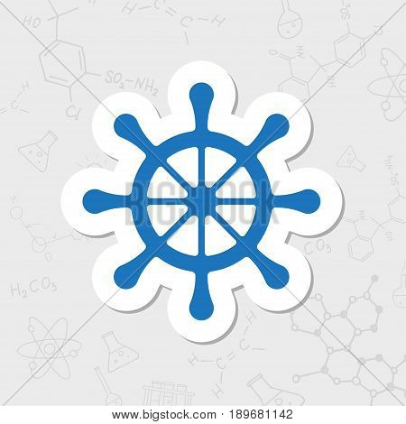 Vector flat sticker steering wheel icon on white background