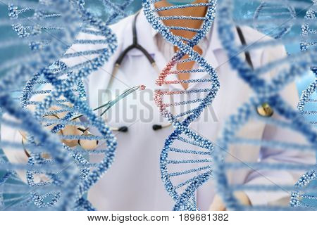 A Doctor Examines Dna Molecules .
