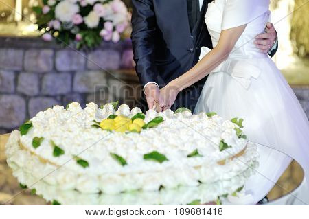 Bride and groom cutting heart shaped wedding cake at wedding reception