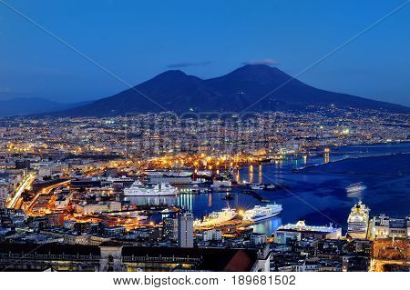 Naples and Vesuvius panoramic view at night Italy Europe