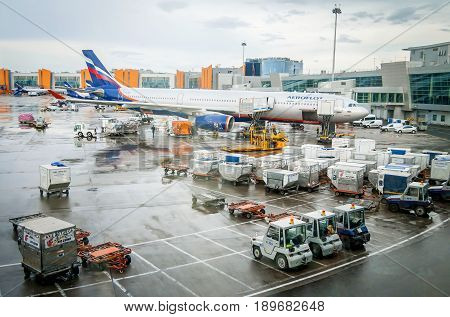 MOSCOW, RUSSIA. June 4, 2016. Aeroflot passenger Airbus plane in the international terminal of the Domodedovo airport.