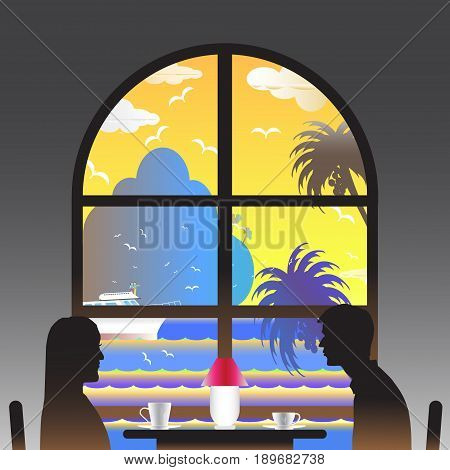Vector illustration seascape background over sea with the lover in the window and water wave between archipelago Blue color with fishes and the bird flying in sky cloud background at summer time.