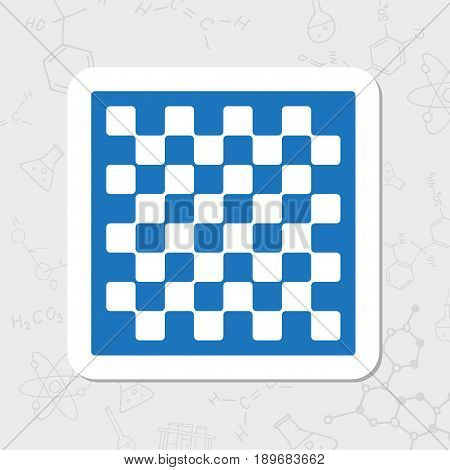 Vector flat sticker checkers board icon on white background