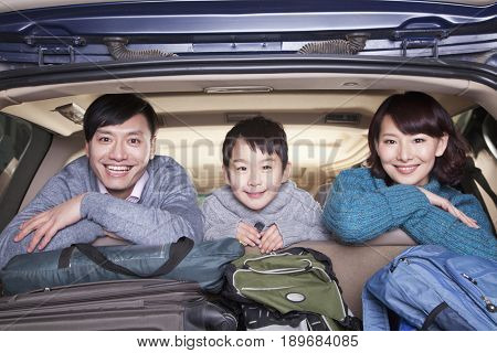 Chinese family in packed car