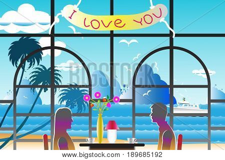 Vector illustration seascape background with the lovers near windows and water wave between archipelago Blue color with yacht and the bird flying in sky cloud background at summer time.