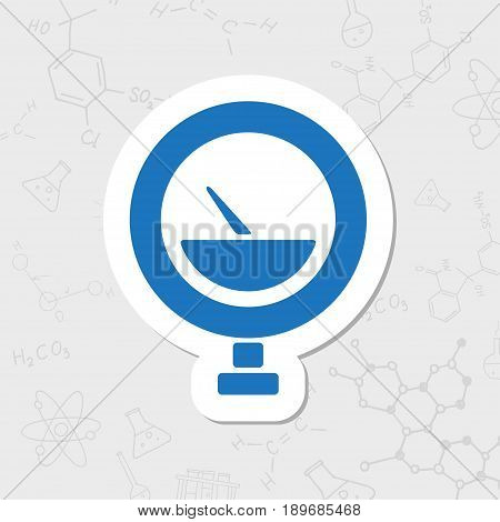 Vector flat sticker manometer icon on white background