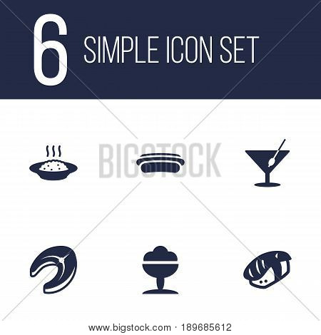 Set Of 6 Dish Icons Set.Collection Of Sausage, Martini, Sorbet And Other Elements.
