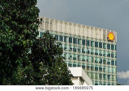 Kota Kinabalu,Sabah,Malaysia-May 28,2017:Shell signboard at Plaza Shell in Kota Kinabalu,Sabah,Malaysia.Its the administration office building for Shell Malaysia in Sabah,Malaysia.