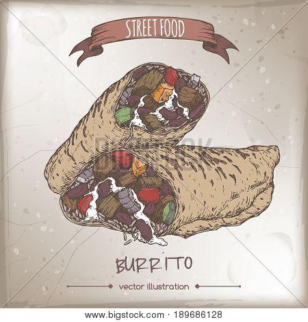 Burrito color sketch on grunge background. Mexican cuisine. Street food series. Great for market, restaurant, cafe, food label design.