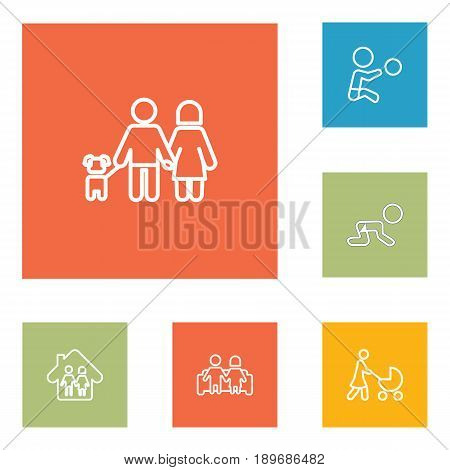 Set Of 6 Relatives Outline Icons Set.Collection Of Boy, Lovers, Crawling Kid And Other Elements.