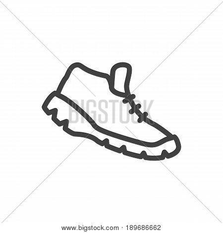 Isolted Sneakers Outline Symbol On Clean Background. Vector Trekking Shoes Element In Trendy Style.