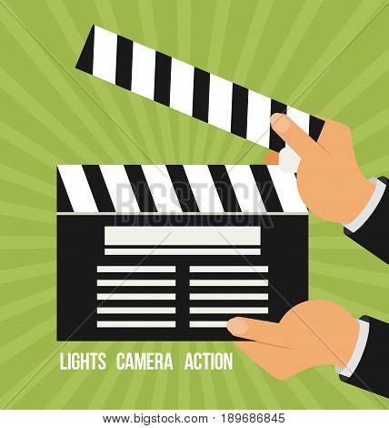 Cinema vector. Lights camera action flat vector