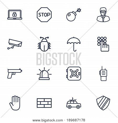 Set Of 16 Safety Outline Icons Set.Collection Of Hand , Walkie-Talkie, Virus Elements.